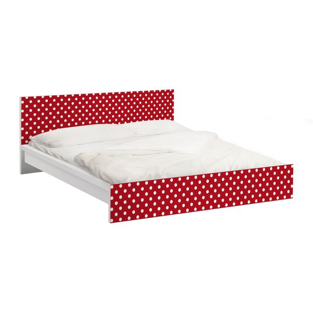 Möbelfolie für IKEA Malm Bett niedrig 180x200cm - Klebefolie No.DS92 Punktdesign Girly Rot