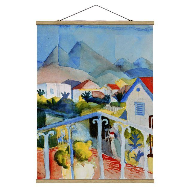 Stoffbild mit Posterleisten - August Macke - Saint Germain bei Tunis - Hochformat 3:4