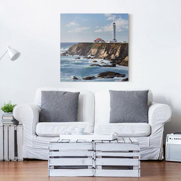 Leinwandbild - Point Arena Lighthouse Kalifornien - Quadrat 1:1