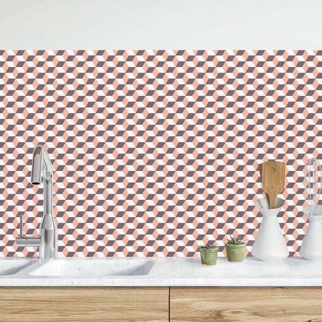 Küchenrückwand - Geometrischer Fliesenmix Würfel Orange
