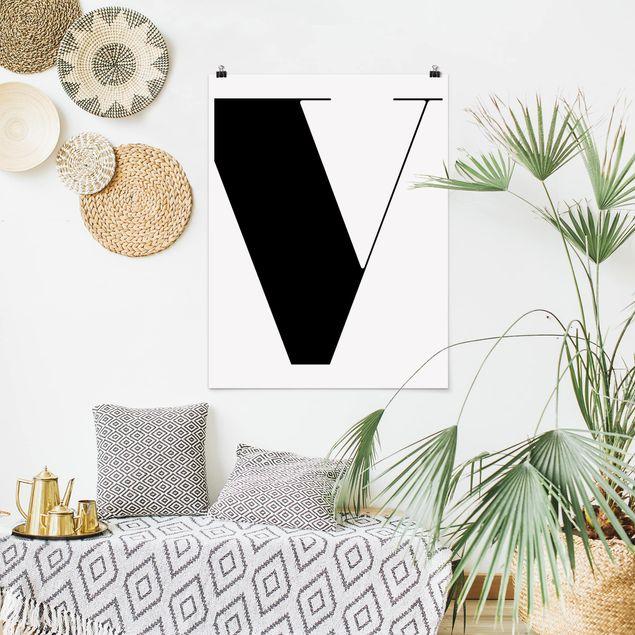 Poster - Antiqua Letter V - Hochformat 3:4