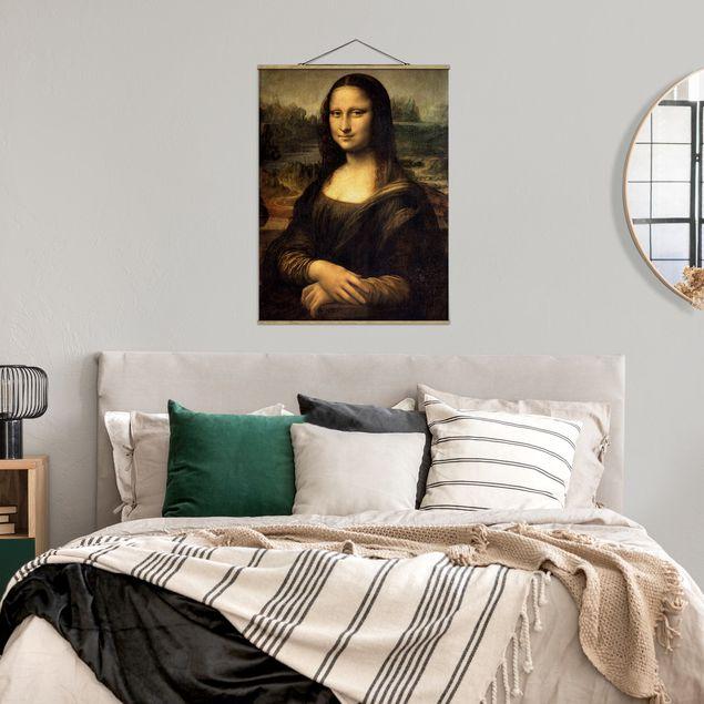Stoffbild mit Posterleisten - Leonardo da Vinci - Mona Lisa - Hochformat 3:4