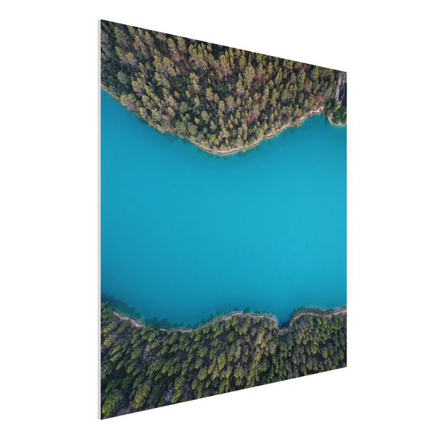 Forex Fine Art Print - Luftbild - Tiefblauer See - Quadrat 1:1