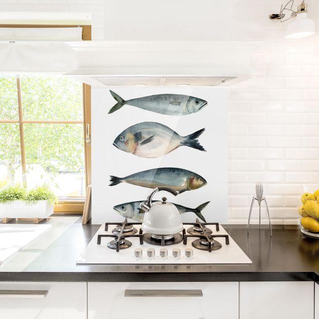 Glas Spritzschutz - Vier Fische in Aquarell II - Quadrat - 1:1