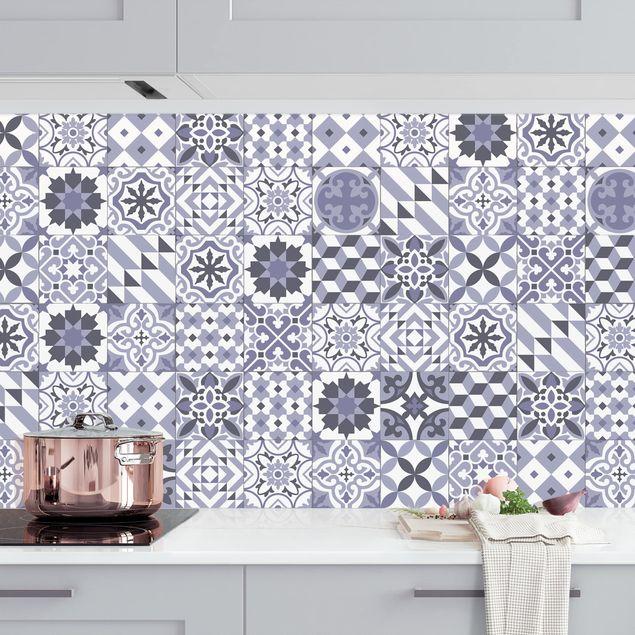 Küchenrückwand - Geometrischer Fliesenmix Violett