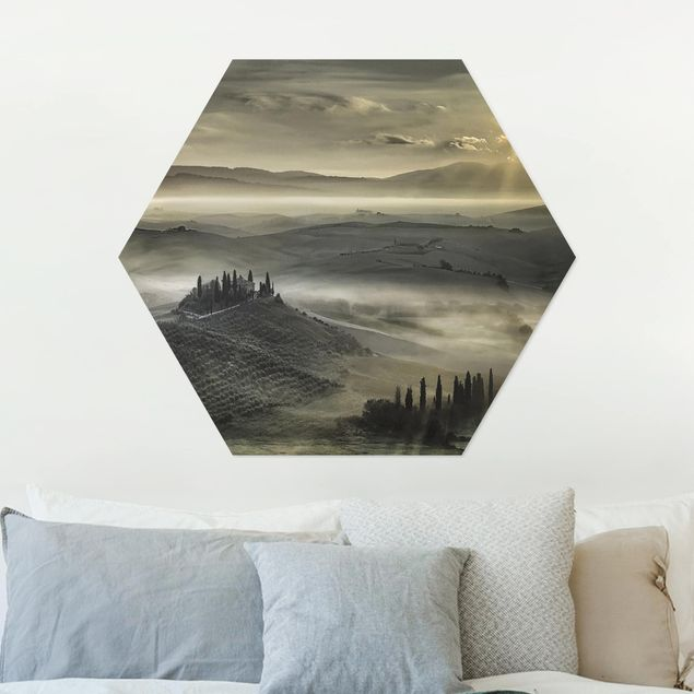 Hexagon Bild Alu-Dibond - Toskana-Morgen