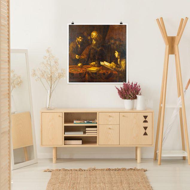 Poster - Rembrandt van Rijn - Gleichnis von Arbeitern - Quadrat 1:1