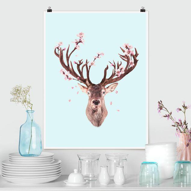 Poster - Jonas Loose - Hirsch mit Kirschblüten - Hochformat 3:4