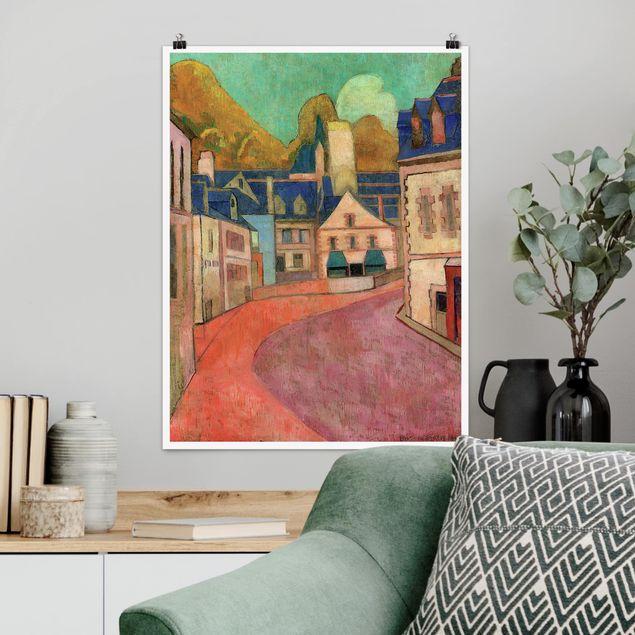 Poster - Emile Bernard - La Rue Rose à Pont-Aven - Hochformat 3:4