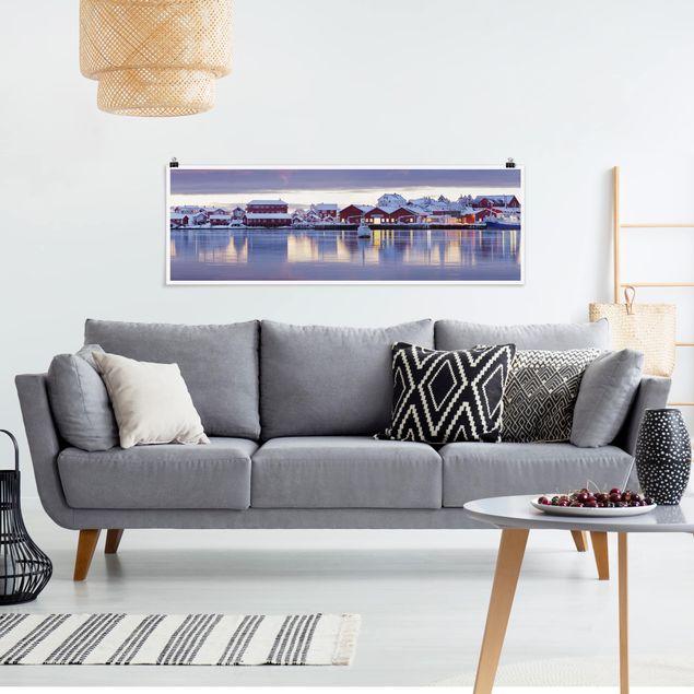 Poster - Reine in Norwegen - Panorama Querformat