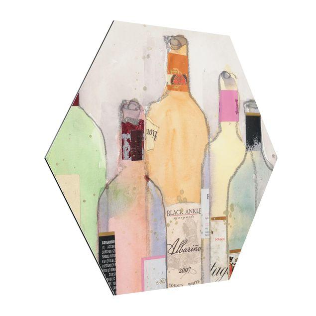 Hexagon Bild Alu-Dibond - Weinflaschen in Wasserfarbe II
