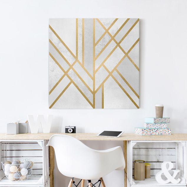 Leinwandbild - Art Deco Geometrie Weiß Gold - Quadrat 1:1