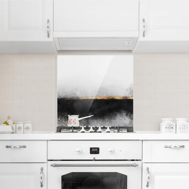 Glas Spritzschutz - Abstrakter Goldener Horizont Schwarz Weiß - Quadrat - 1:1
