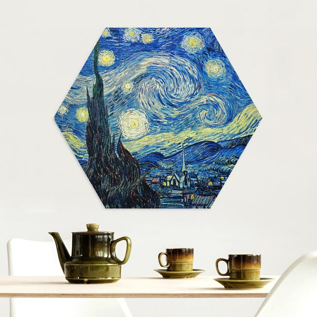 Hexagon Bild Alu-Dibond - Vincent van Gogh - Sternennacht