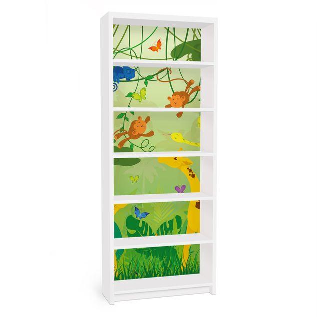 Möbelfolie für IKEA Billy Regal - Klebefolie No.IS87 Dschungelspiel