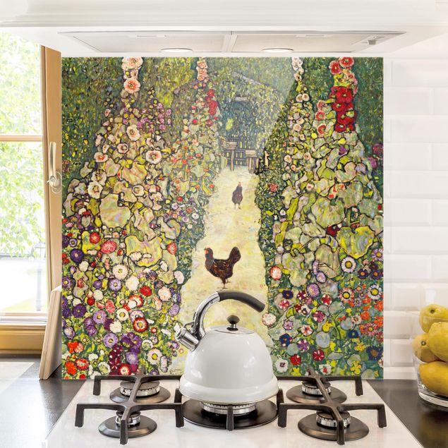 Glas Spritzschutz - Gustav Klimt - Gartenweg mit Hühnern - Quadrat - 1:1