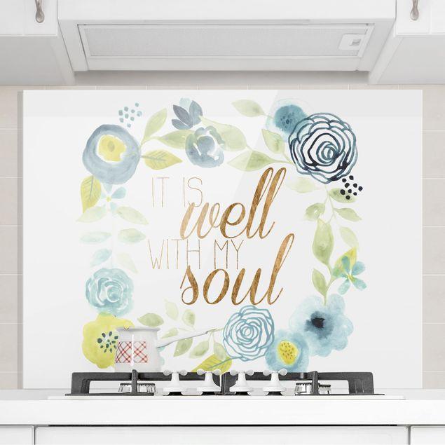 Glas Spritzschutz - Blumenkranz mit Spruch - Soul - Querformat - 4:3