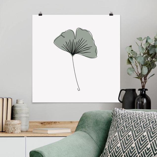 Poster - Gingko Blatt Line Art - Quadrat 1:1