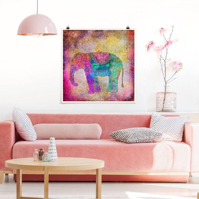 Poster - Bunte Collage - Indischer Elefant - Quadrat 1:1