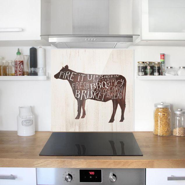 Glas Spritzschutz - Bauernhof BBQ - Kuh - Quadrat - 1:1