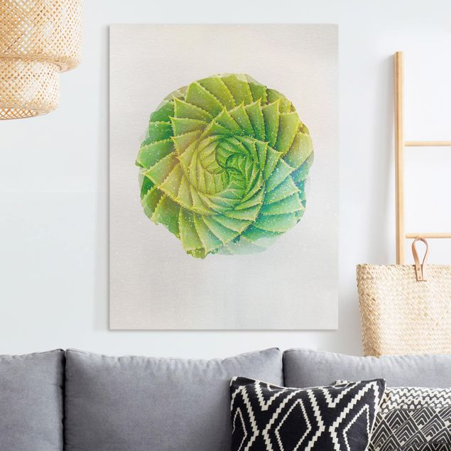 Leinwandbild - Wasserfarben - Spiral Aloe - Hochformat 4:3
