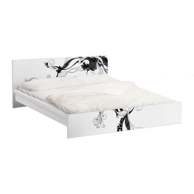 Möbelfolie für IKEA Malm Bett niedrig 160x200cm - Klebefolie Ranke in Tusche