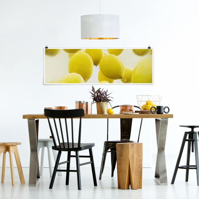 Poster - Zitronen im Wasser - Panorama Querformat