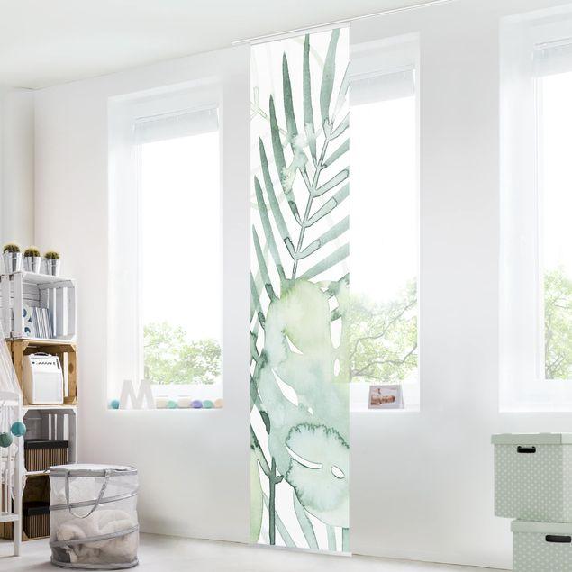 Schiebegardinen Set - Palmwedel in Wasserfarbe I - Flächenvorhang