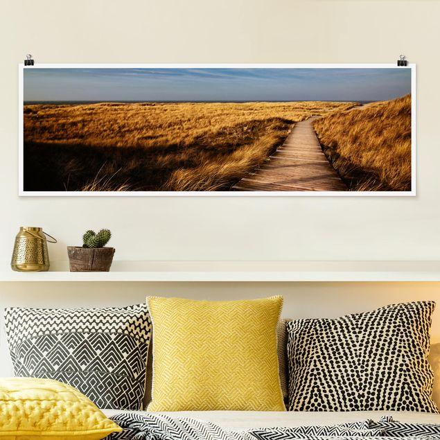 Poster - Dünenweg auf Sylt - Panorama Querformat