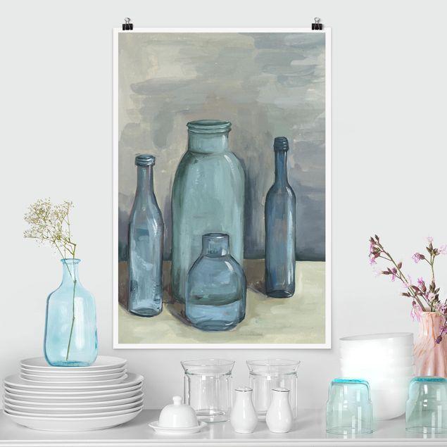 Poster - Stillleben mit Glasflaschen II - Hochformat 3:2