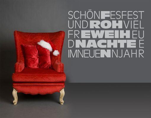 Wandtattoo Sprüche - Wandsprüche No.UL1002 Frohe Weihnachten Typo