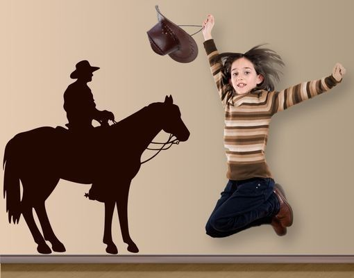 Wandtattoo Pferd No.1400 Cowboy Silhouette