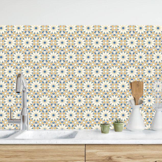 Küchenrückwand - Orientalisches Muster mit gelben Sternen