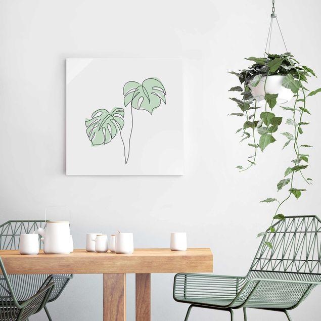 Glasbild - Blätter Monstera Line Art - Quadrat 1:1