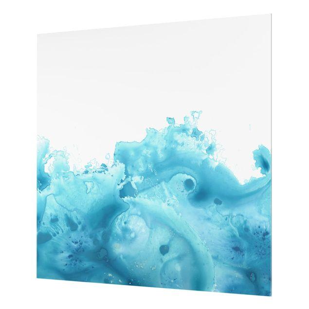 Glas Spritzschutz - Welle Aquarell Türkis I - Quadrat - 1:1