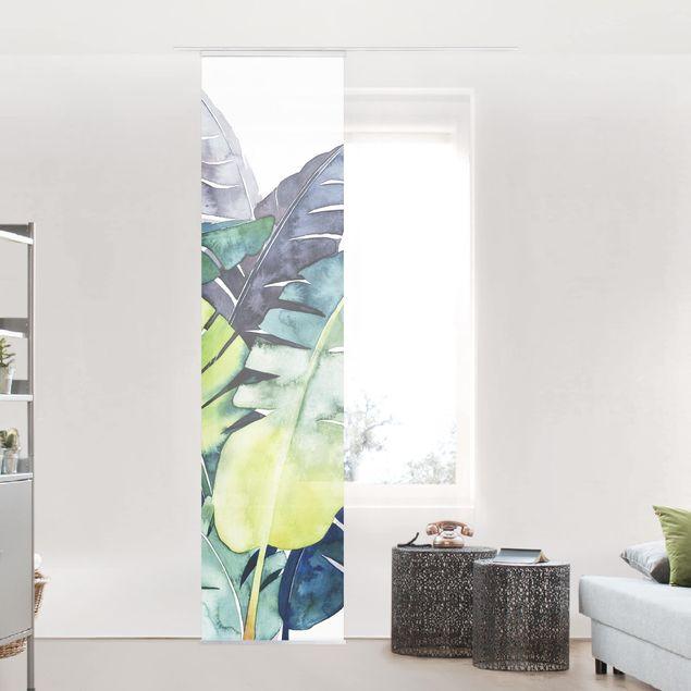 Schiebegardinen Set - Exotisches Blattwerk - Banane - Flächenvorhang