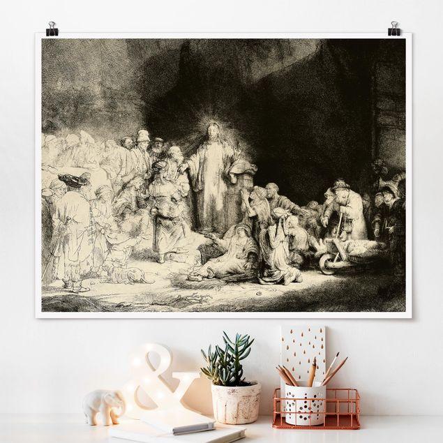 Poster - Rembrandt van Rijn - Christus heilt die Kranken - Querformat 3:4