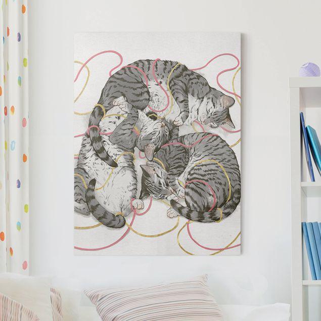 Leinwandbild - Illustration Graue Katzen Malerei - Hochformat 4:3