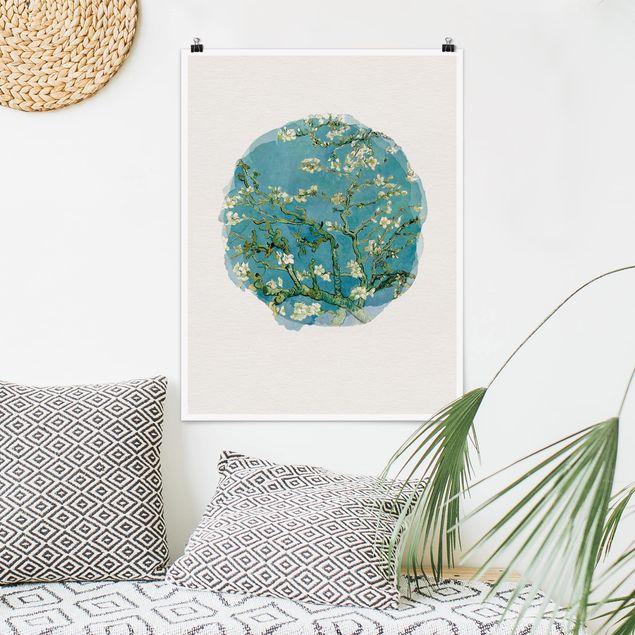 Poster - Wasserfarben - Vincent van Gogh - Mandelblüte - Hochformat 4:3