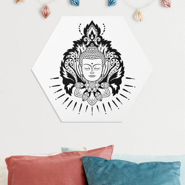 Hexagon Bild Forex - Lotus mit Buddha