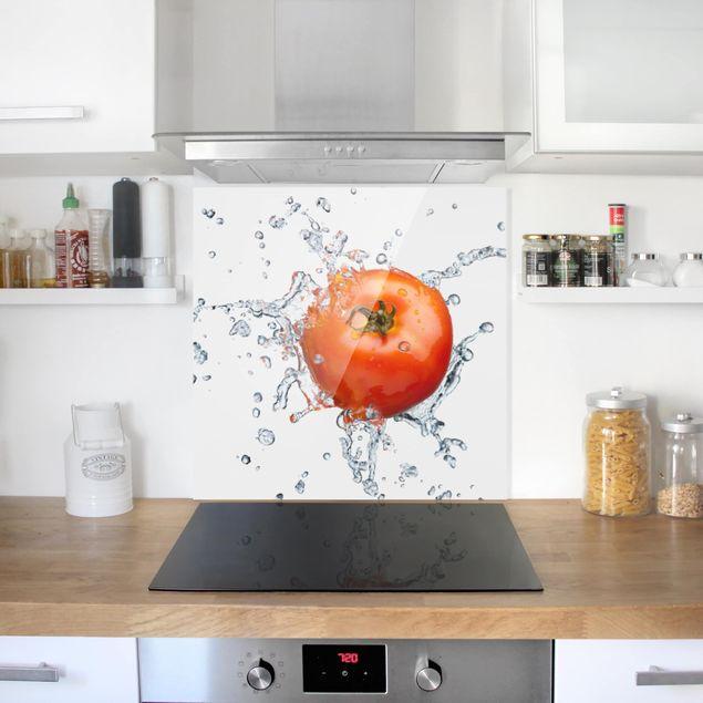 Glas Spritzschutz - No.507 Frische Tomate - Quadrat - 1:1