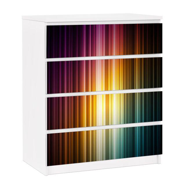 Möbelfolie für IKEA Malm Kommode - selbstklebende Folie Rainbow Light