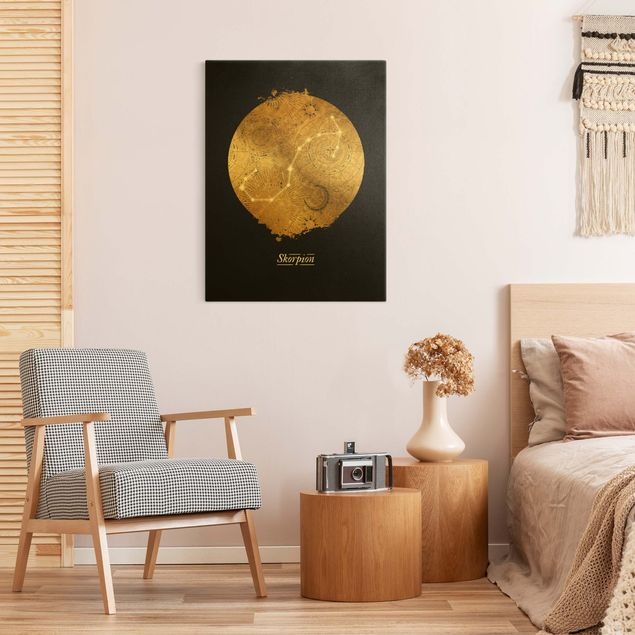 Leinwandbild Gold - Sternzeichen Skorpion Grau Gold - Hochformat 3:4