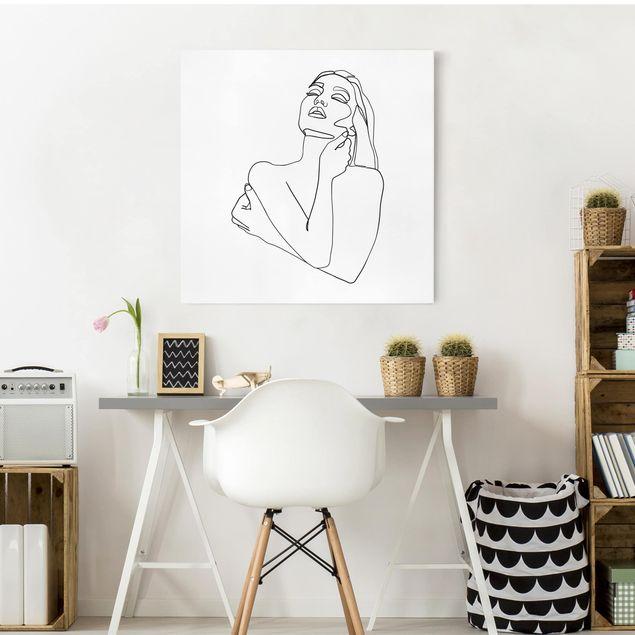 Leinwandbild - Line Art Frau Oberkörper Schwarz Weiß - Quadrat 1:1