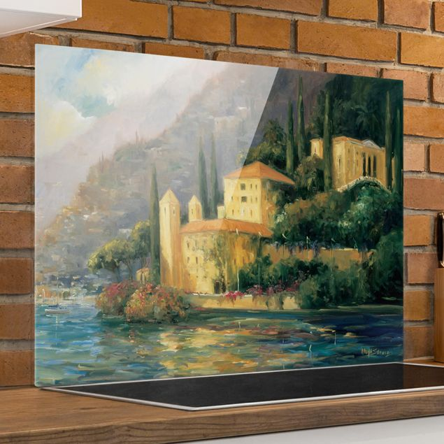 Glas Spritzschutz - Italienische Landschaft - Landhaus - Querformat - 4:3