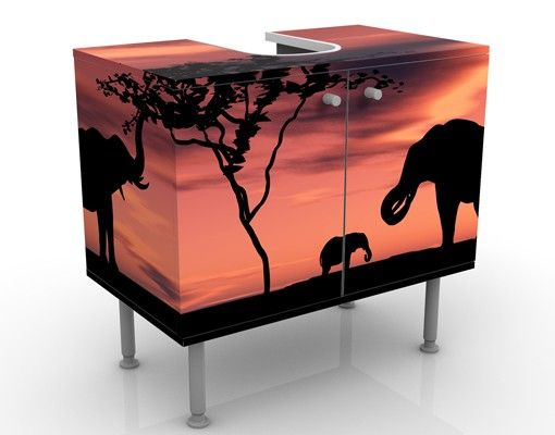 Waschbeckenunterschrank - African Elefant Family - Badschrank Orange Braun Rot Schwarz