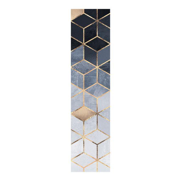 Schiebegardinen Set - Elisabeth Fredriksson - Blau Weiß goldene Geometrie - 6 Flächenvorhänge