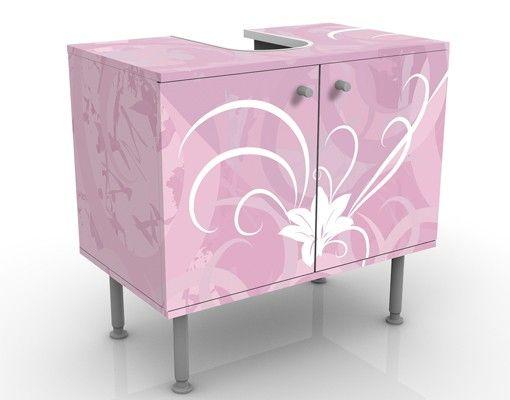Waschbeckenunterschrank - Airy Love - Blumen Badschrank Rosa