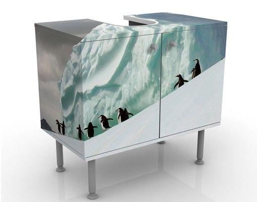 Waschbeckenunterschrank - Arctic Penguins - Badschrank Weiß
