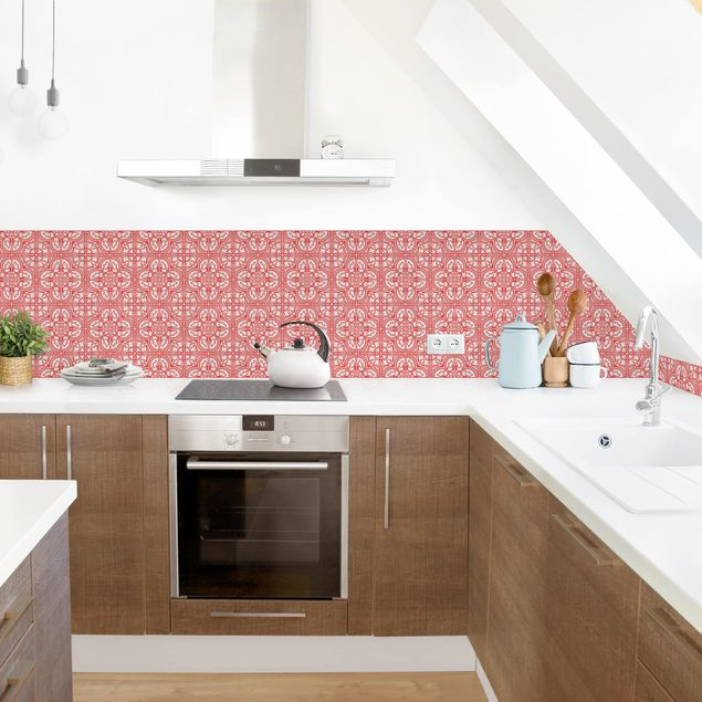 Küchenrückwand - Fliesenmuster Faro rot